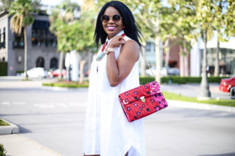 White Shirt Dress & Twilight Handbag
