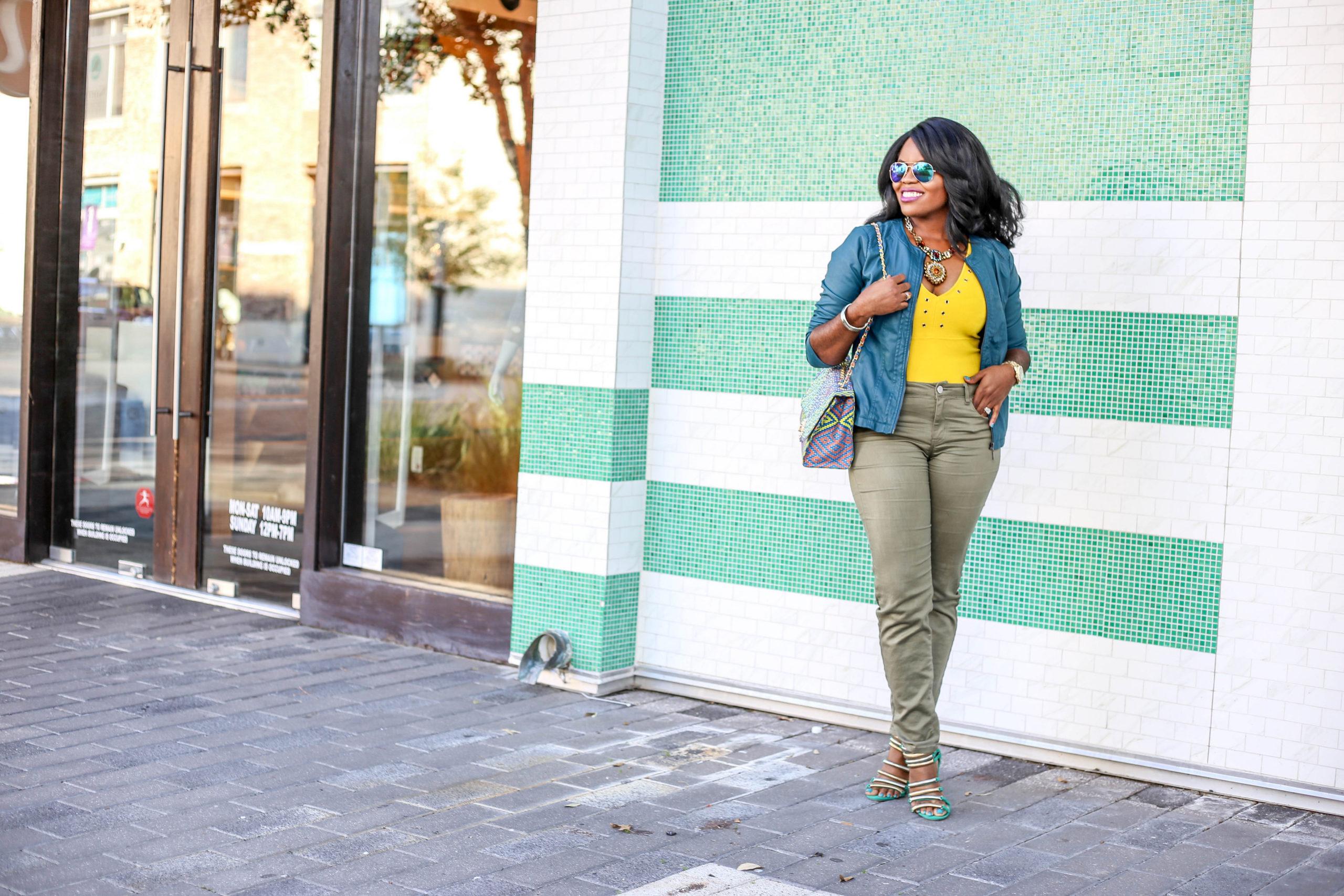 Chigis World Leather Jacket Skinny Jeans African Print Ankara Dashiki Rhinestone Bling Handbag Shoedazzle Shoes