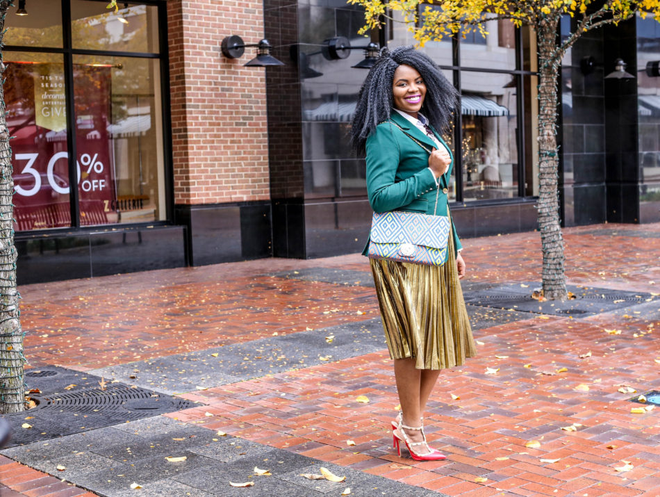 Making a Statement Christmas Style Gold metallic pleated A-line Skirt White Tommy Hilfiger Dress Shirt Green Boyfriend Blazer Rhinestone Embelished Ankara African Print Handbag Red Rock Stud Shoes Statement Necklace Michael Kors Watch Green Sneakers Crossbody bag Macys Dillards Ross Miose Asos Sheinside