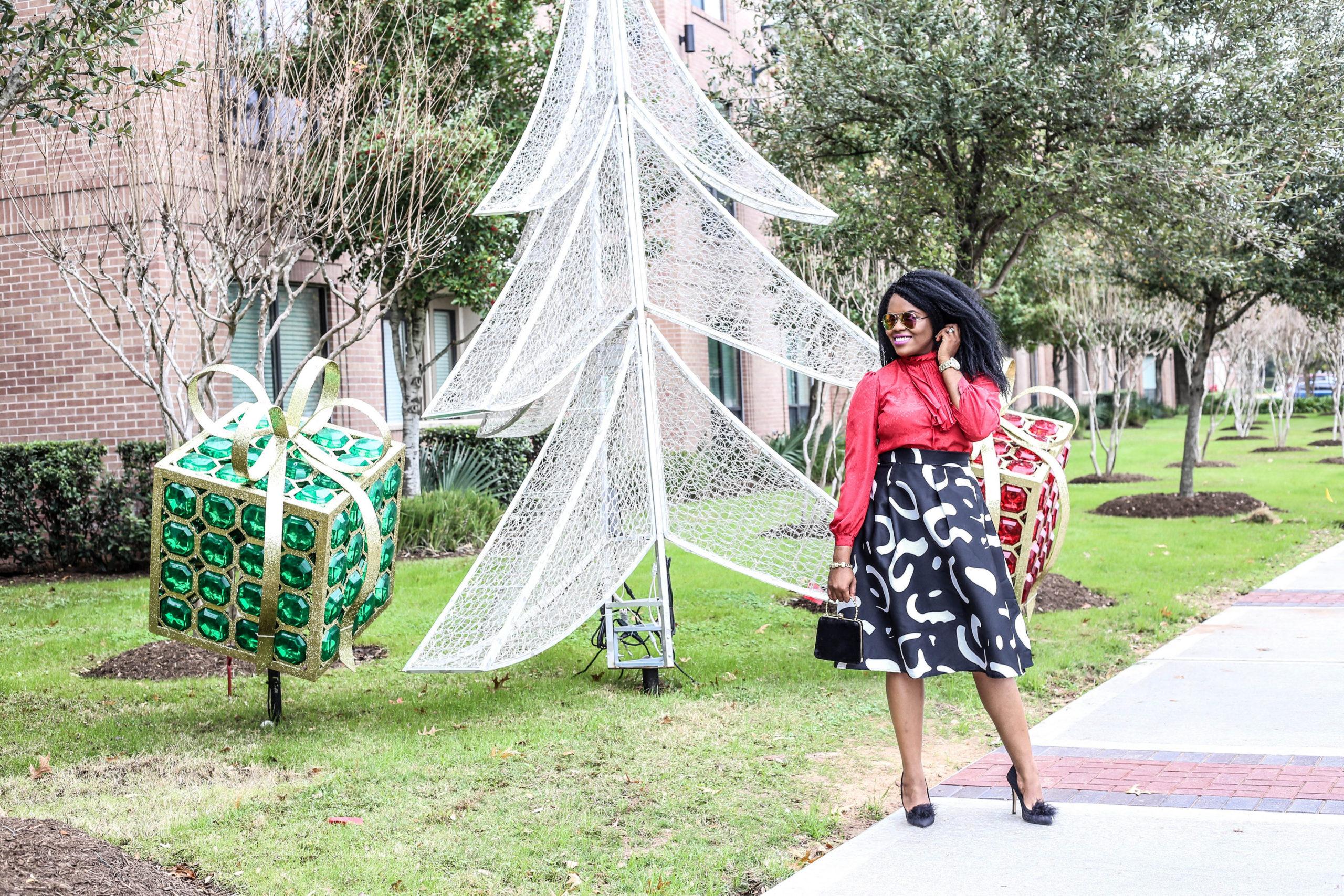 Retro Chic ChigisWorld Vintage High Neck Ruffled Top SheIn Aline Pleated Midi Skirt Betsey Johnson Black Feather Pumps Ross Velvet Clutch Handbag Agaci Sunglasses