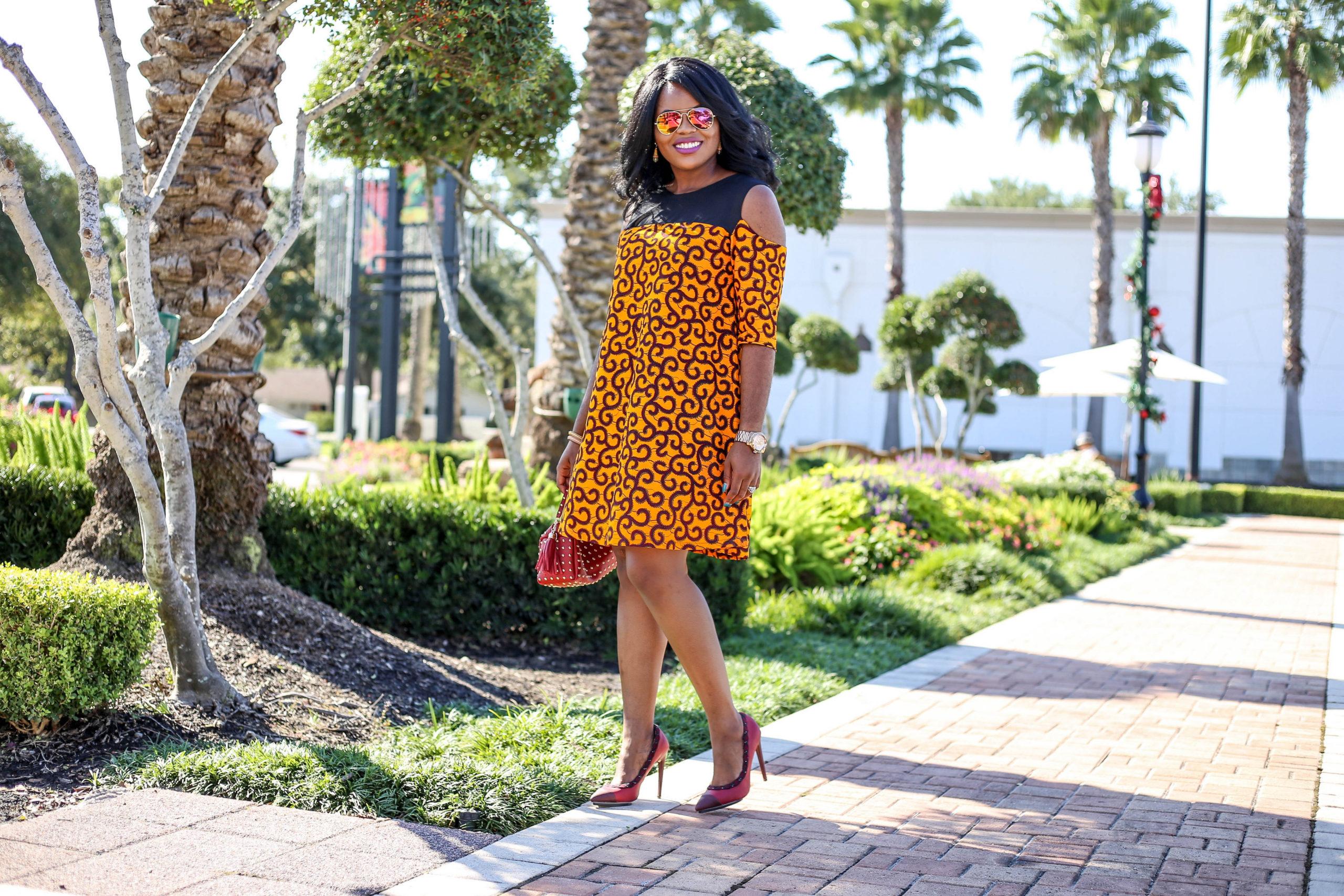 Chigi's World African Print Ankara Shift Dress Rock Stud Handbag GX Gwen Stefani Shoedazzle Pumps