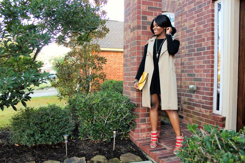 Chigi's World Blog Patrizia Luca Milano Little Black Dress Bershka Vest Waistcoat Shoedazzle boots Kenneth Cole Watch Burd Life African Beads Necklace Macys Bracelet