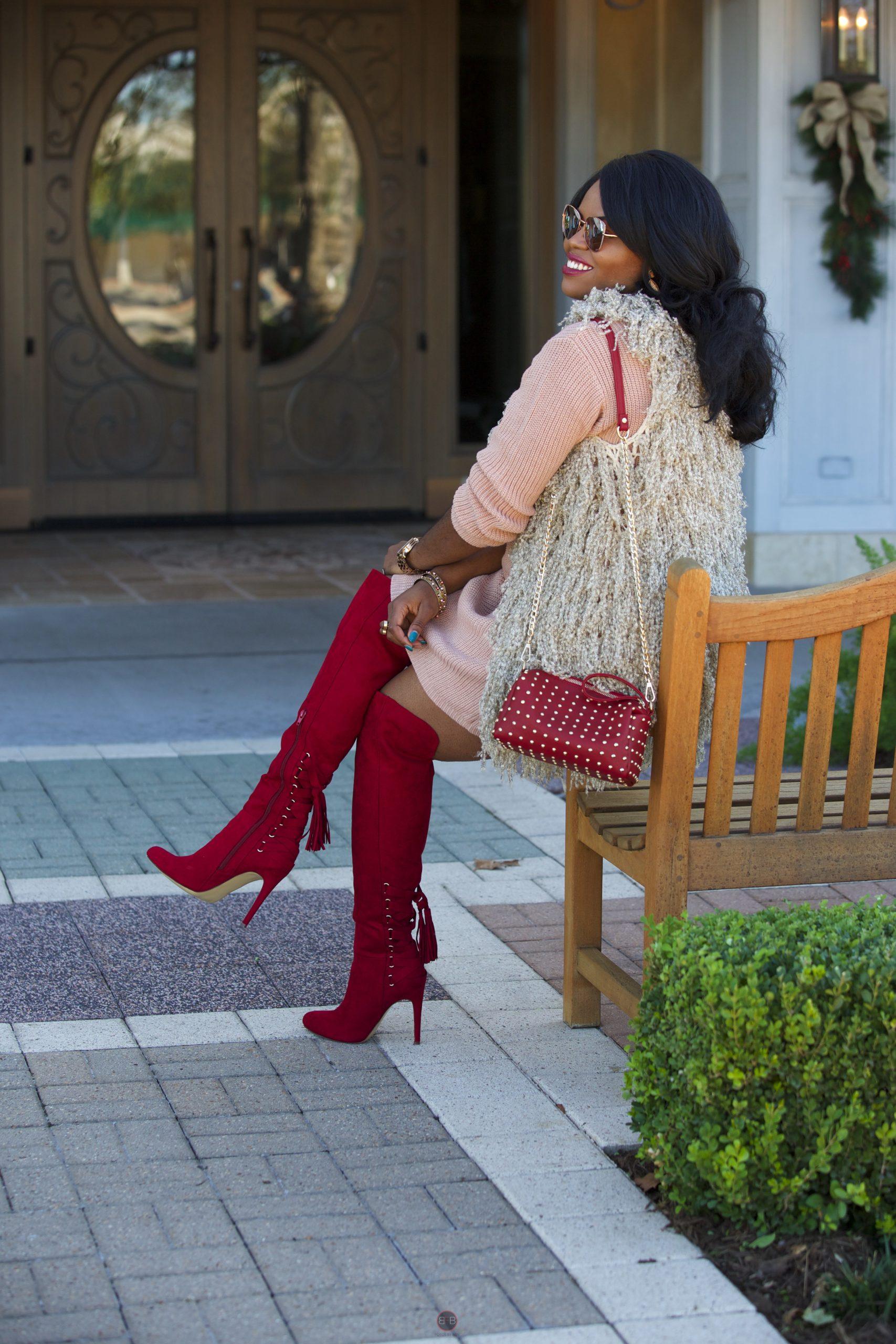 Chigis World Tobi Sweater Dress Shoedazzle Jemiah Boots Rock stud handbag Fall Fashion