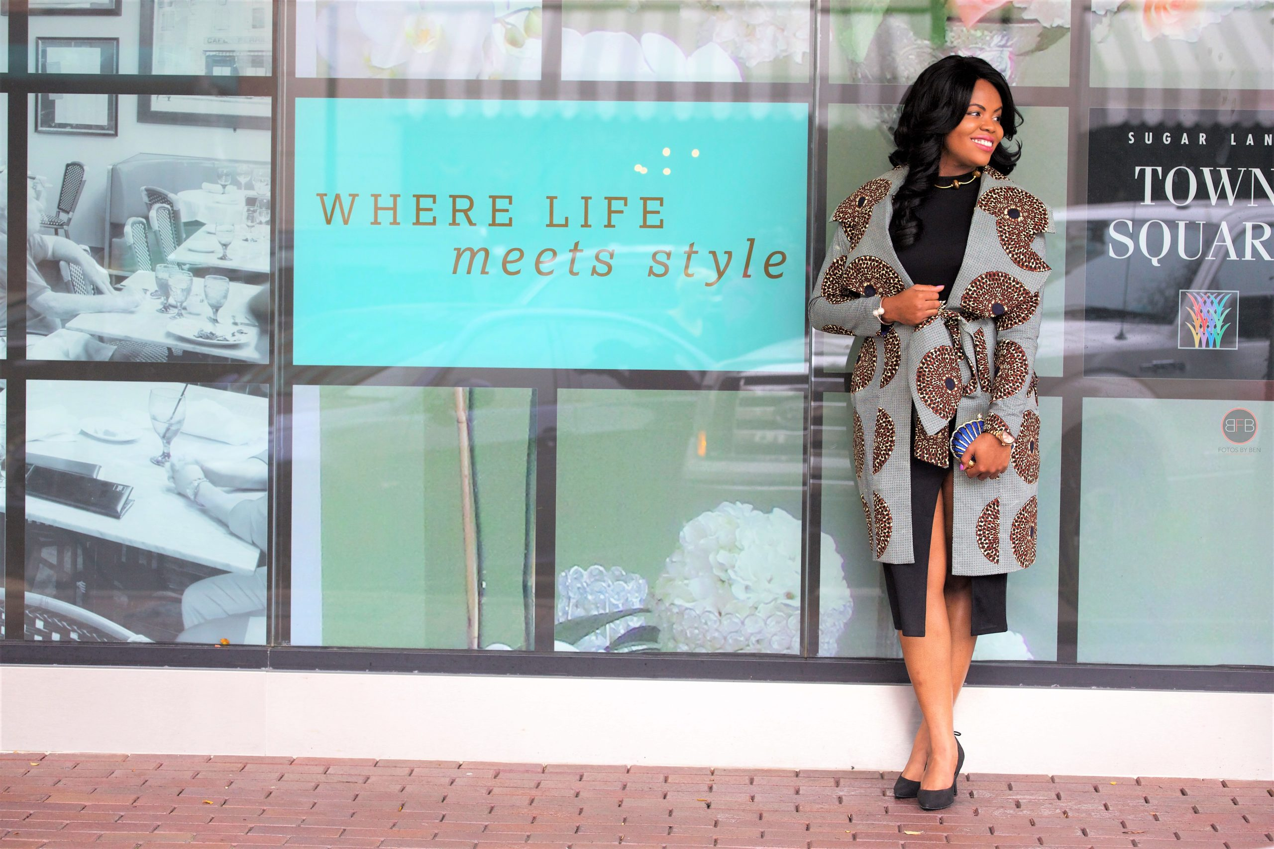 Chigi's World LBD + African Print Coat 3reecs Chic Creations and Collections Trench Coat Black Asos Dress Ross Lace-up Pumps Charming Charlie Gold Pearl Bracelet Michael Kors Watch Beaded Choker Necklace Leaves Belt Shell Clutch Purse