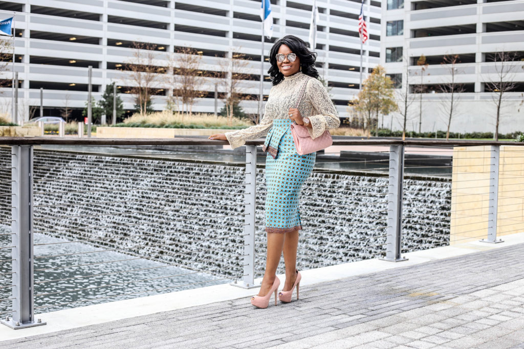 Brick and Lace - 10 Things to Learn from Michelle Obama Nordstrom Nude Lace Top Blue Rina 3reecs Skirt Breckelles Blush Pink Heels Rebecca Minkoff Handbag Agaci Sunglasses Michael Kors Wristwatch