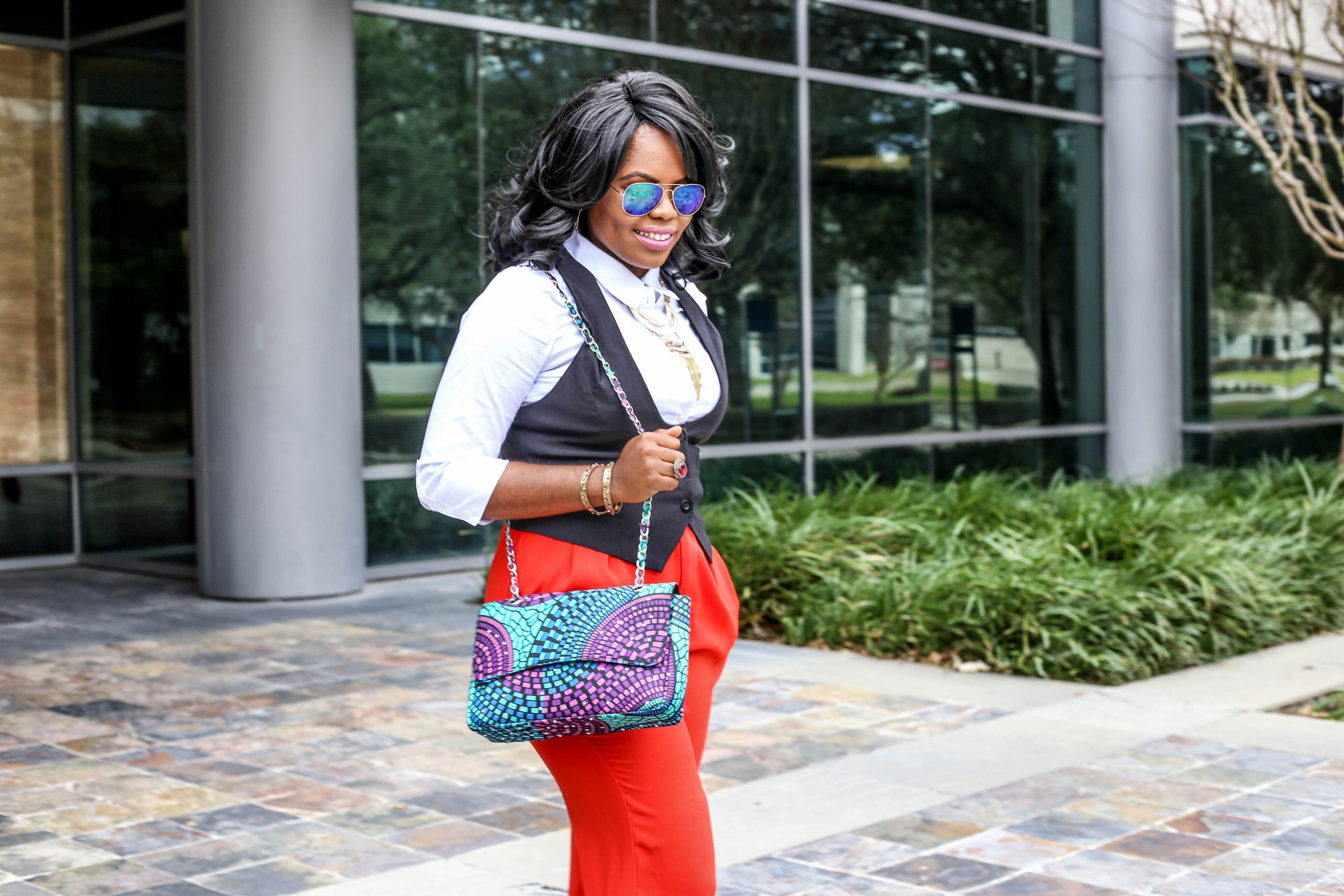 Red Pants + White Shirt + Black Vest = OOTD Alice + Olivia Nordstrom Wide Leg Pants 3reecs Teal Purple Rock Stud African Print Dashiki Ankara Handbag Black White Uvana Madison Shoedazzle Shoes Agaci Sunglasses Gold Statement Necklace