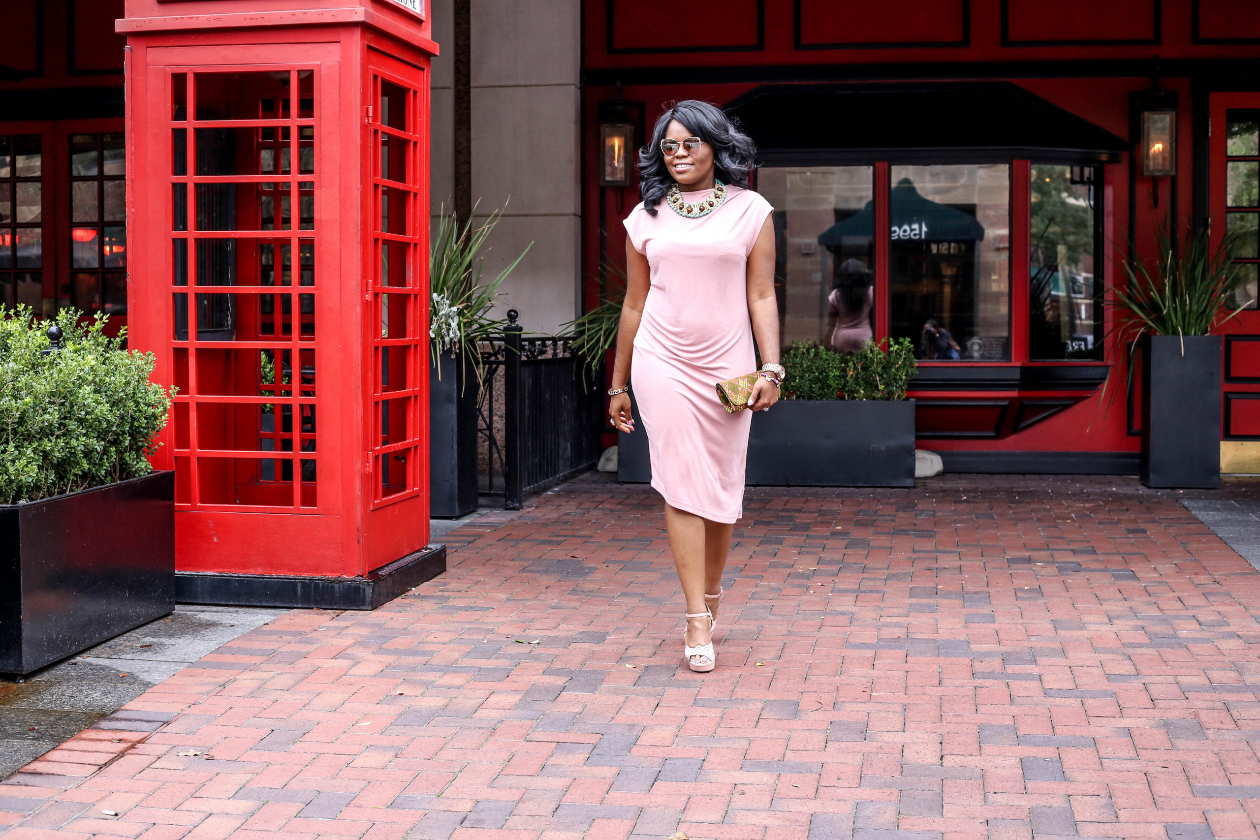Monochrome Monday - Blush Pink Topshop Nordstrom Neutral Nude Drape Midi Dress Shoedazzle Lasercut Sandals 3REEC's Ankara African Print Jigsaw Clutch Purse Modern Kitty Metal Boxy A'GACI Sunglasses Earthtone Vixen NeckpieceSincerely Yours Sade Statement Necklace Rose Gold Michael Kors Watch