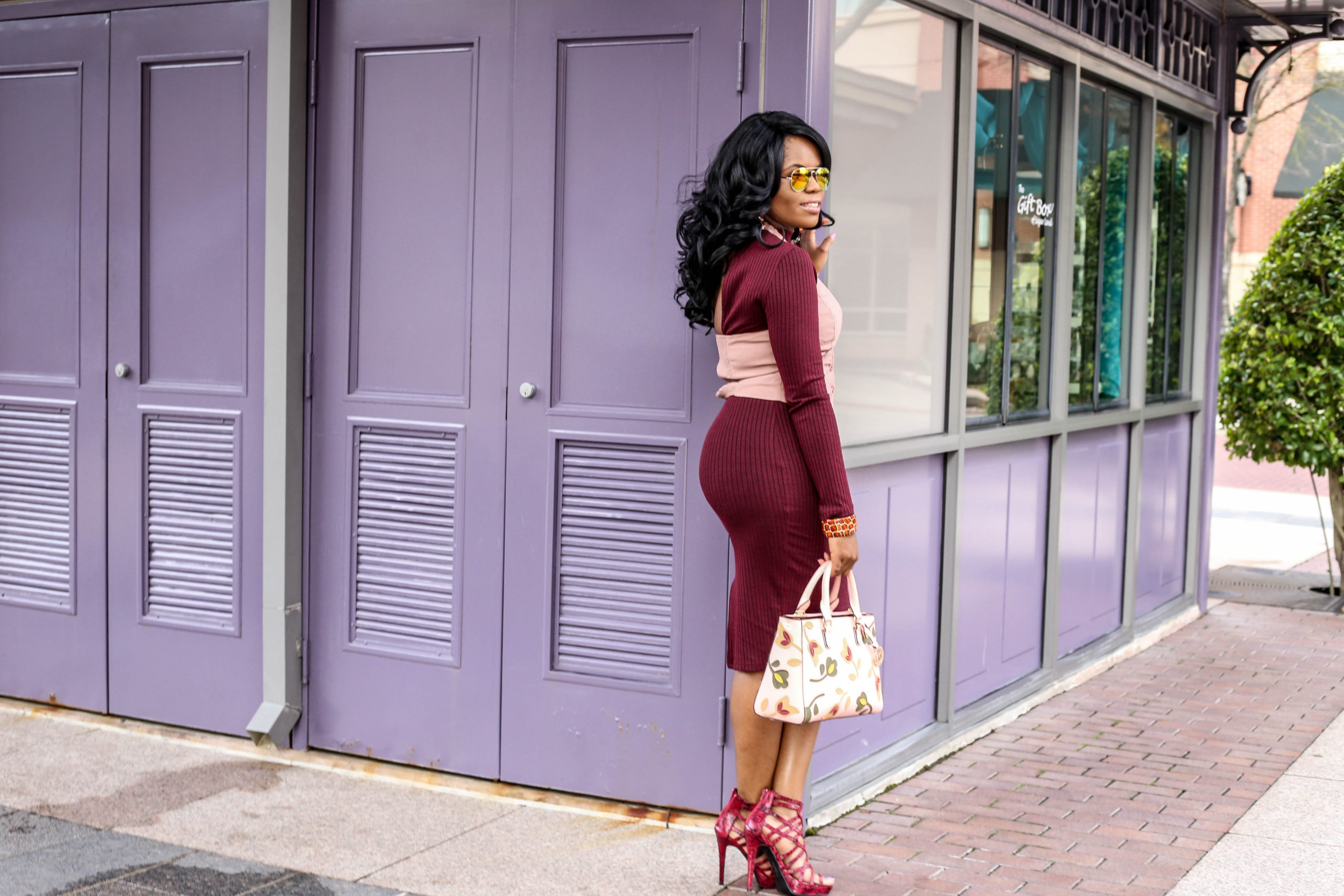Red Knit Dress + Blush Pink Vest AGACI Burgundy Bodycon Midi Dress Blush Halter Waistcoat West 57th Floral Turnlock Satchel Handbag by Henri Bendel Red Linnie Animal Print Shoedazzle Heels Kenyan Kandy African Print Jewelry