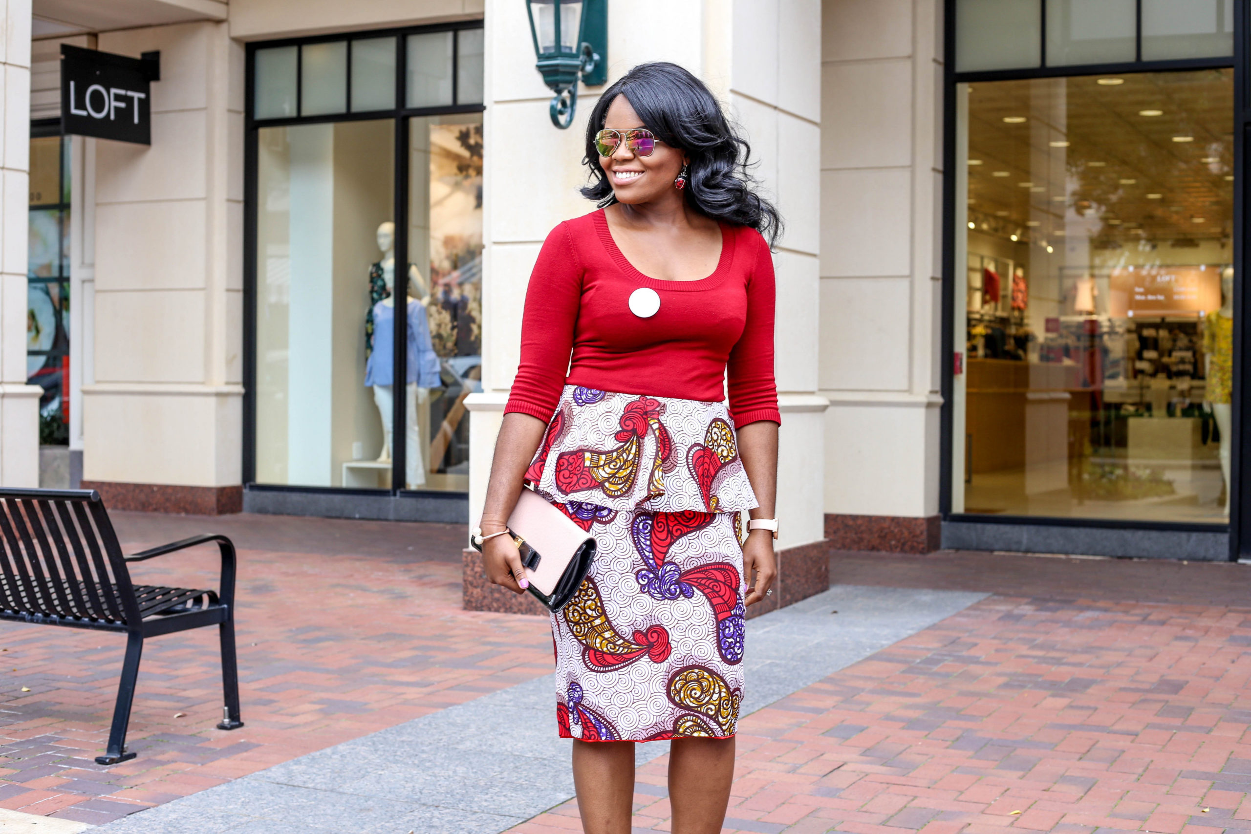 Peplum Skirts + Floral Prints for Spring Red Blouse Top Red White Hibiscus Peplum Floral Pencil Skirt Nude So Kate Christian Louboutin Pumps Blush Black Anne Klein Handbag Bosses in Heels Logo Pin Ladybug Earrings Charming Charlie Bracelet Barbas and Zacari Watch
