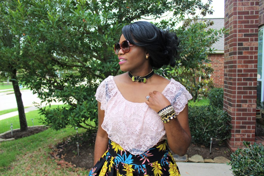 How to Start a Conversation - SiammPatra Style Pink Nude Blush Lace Crop Top Blue Yellow Carnation Floral Ankara Wax Dashiki African Print Maxi Skirt Brown Women's Step N' Flex Jeules Alfani Pumps Macy's SiammPatra Fontage Black Gold Zipper Choker Collar Necklace Black and Gold Bloom Embellished Cuff Bracelet Chigi's World Fashion Style Travel Blog