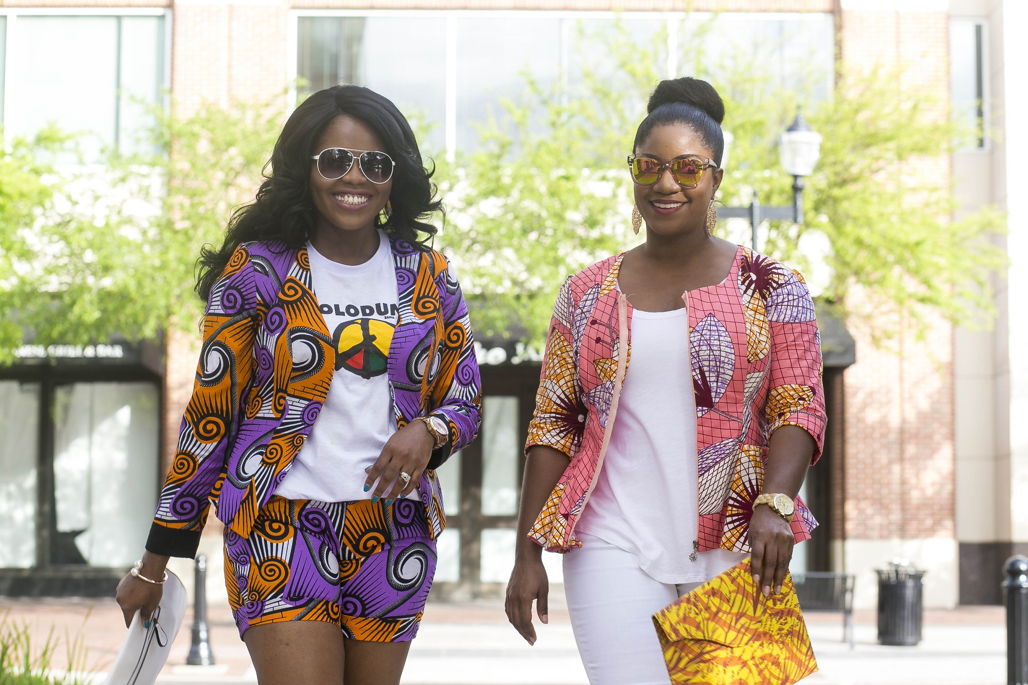 How to Style Ankara for Spring - Blogger Collabo with Queen of Sleeves Chigi's World Queen of Sleeves African Print Dashiki Ankara Styles Blogger Collaboration Spring Lookbook 3reec's Chic Creation and Collections Blazer Shorts Clutch Purse White T-Shirt Denim Pants Christian Louboutin So Kate Pumps Nine West Nora Sandals Charming Charlie Jewelry
