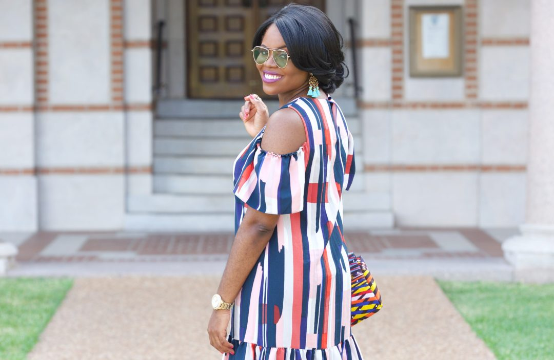 Chigi's World Fun Facts and Fun Colors Asos Multi color cold shoulder stripe dress Ankarastyles Dashiki Kente Wax Print African Print Handbag Cobalt Blue Shoedazzle Wedges Bauble Bar Marquita Tassel Earrings YHF Los Angeles Retro Chic OOTD