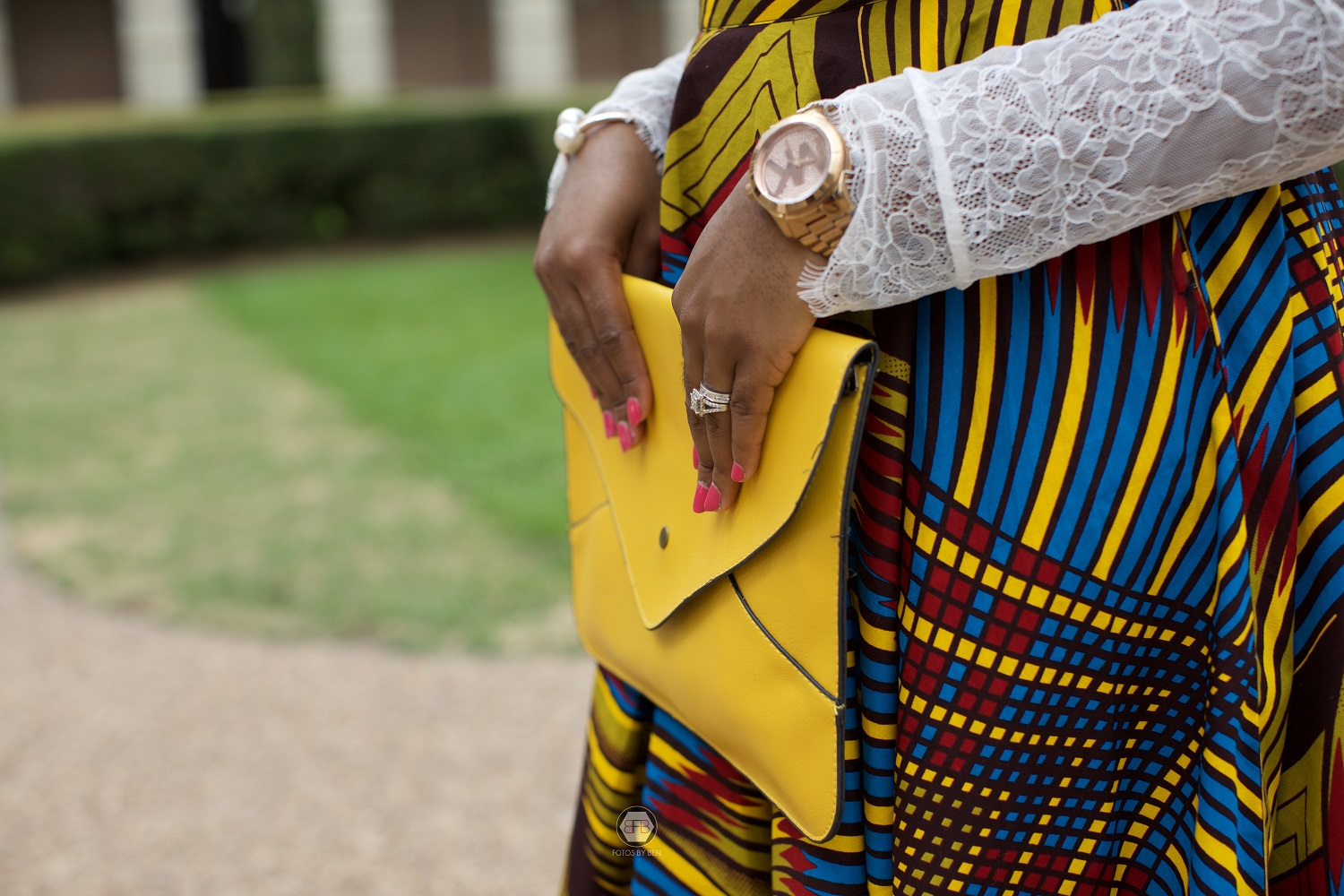 It's all in the details - Lace, Ankara, Ruffles and Stripes H&M Lace Top 3reec's Ankara African Wax Print Dashiki A-line Skirt Macy's Nude Pumps SheIn Oversize Envelope Clutch Bag A'GACI Retro Vintage Sunglasses 60s 70s Fashion