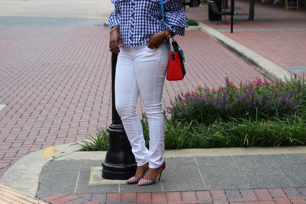 IMG_3963-2-682x1024 Red Shoes, White Pants and Blue Gingham.