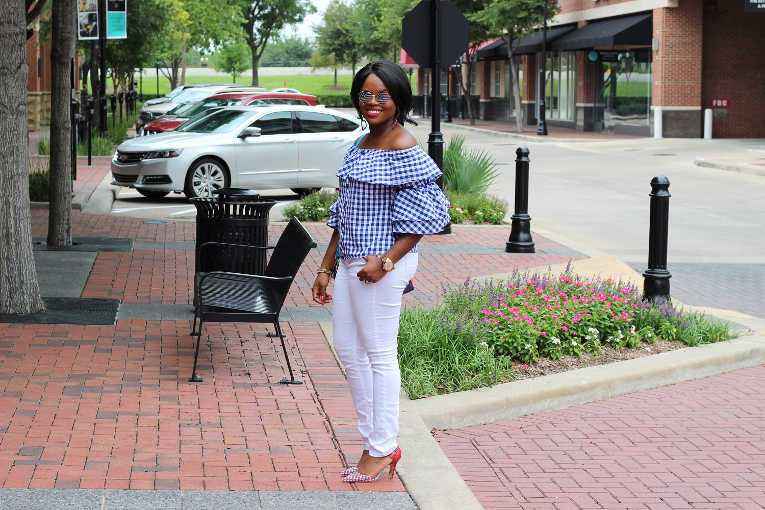 Red Shoes, White Pants and Blue Gingham A'GACI Off Shoulder Ruffle Top Statement Sleeves Macy's White Skinny Denim Jeans Heart Print Shoes Shoedazzle Colorblock Red Blue Handbag Impress by Enny July 4th Independence Day Look American Flag Heart Shape Sunglasses