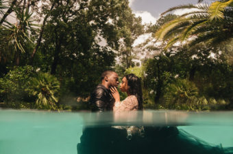 Diving into the next chapter – A Hollywood Glam Engagement Photoshoot