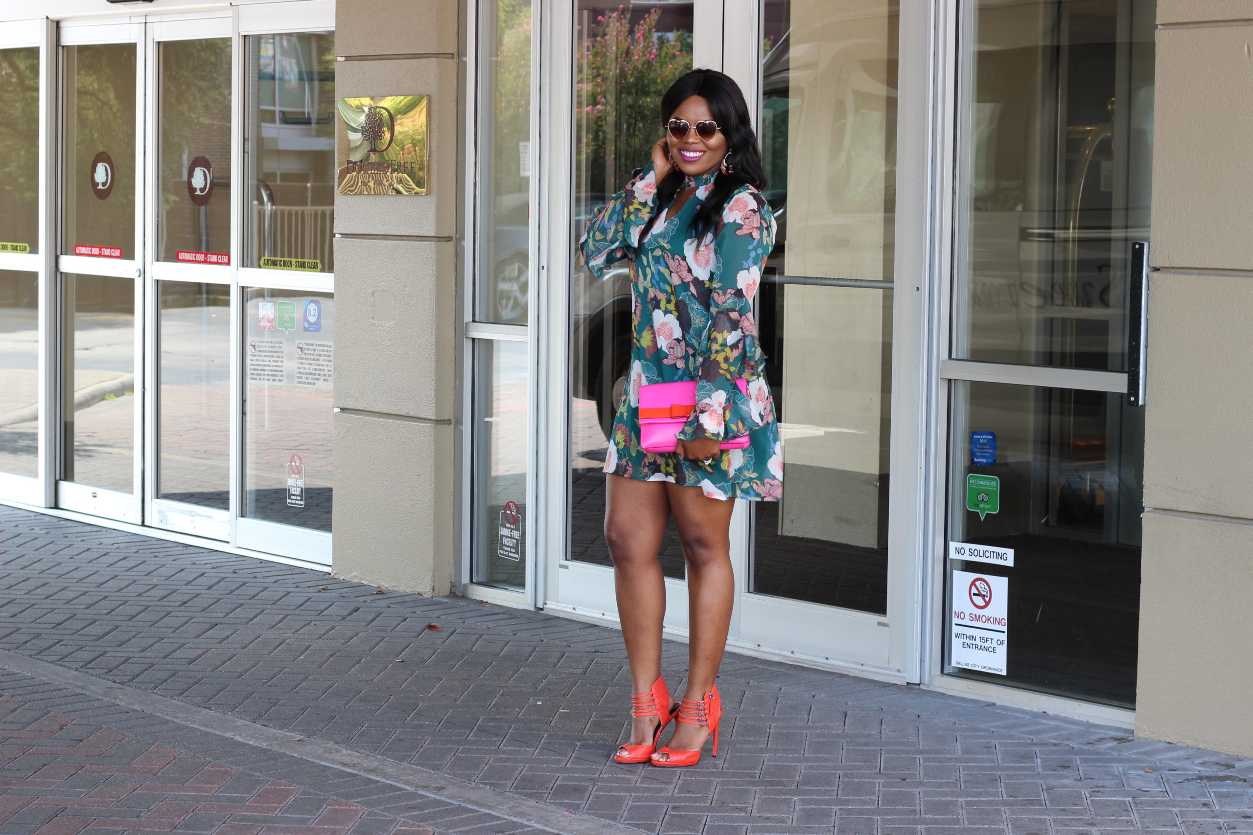 How to Transition into Fall - Floral Prints and Colors Macy's Green Teal Floral Print Ruffle Shift Dress Shoedazzle Orange Heels Pink Kate Spade Handbag Thalia Sodi Earrings StyleCon Dallas DoubleTree Hotel