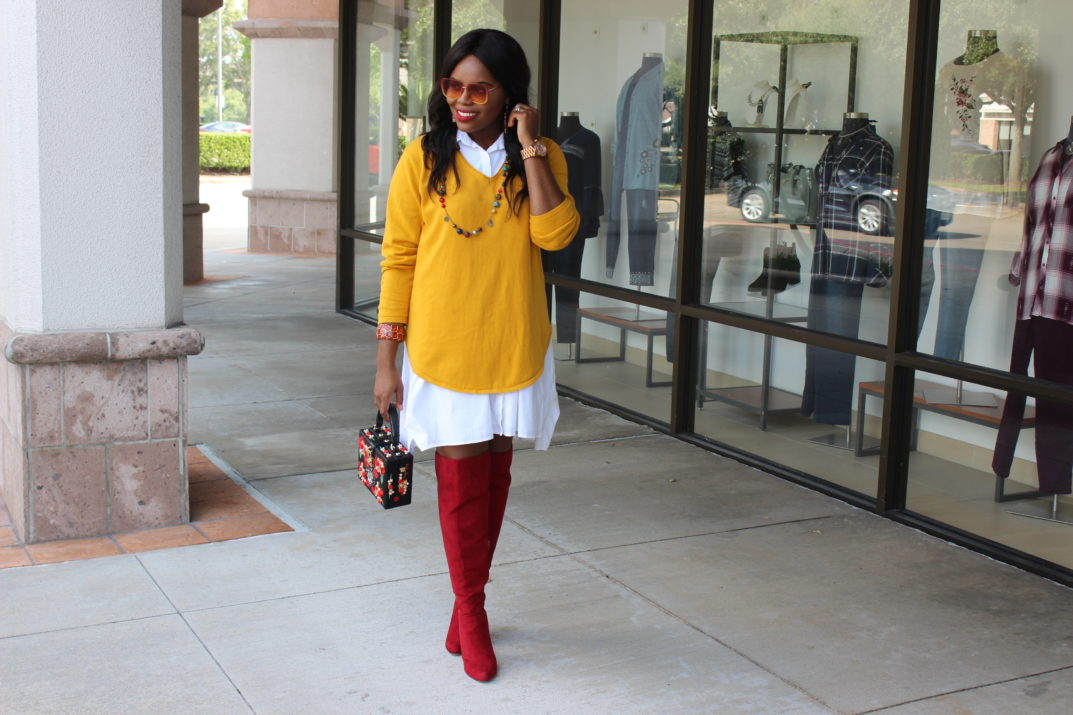 How To Get A Fresh Start in Life Alfani White Shirt Dress Macy's Yellow Knit Sweater Red Over the Knee Shoedazzle Boots Retro 3D Red Floral Embroidery Evening Bag Vintage Handbag Beehive Houston Boutique Sunglasses Houston Fashion Lifestyle Blogger
