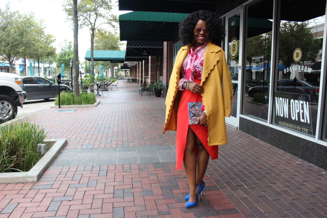 How To Mix Colors + Being Authentic Bold Confident Color Block Art Fashion Life Style Eva Mendes Collection NY and Company Red Floral Isabella Bow Blouse Asos Asymetrical Pencil Skirt Missguided SheIn Yellow Scallop Trim Self Belt Coat Blue Shoedazzle Pumps Cobalt Blue Nordstrom Rack DSW Heels African Print Ankara Clutch Purse Handbag 3reec's Chic Creations and Collections