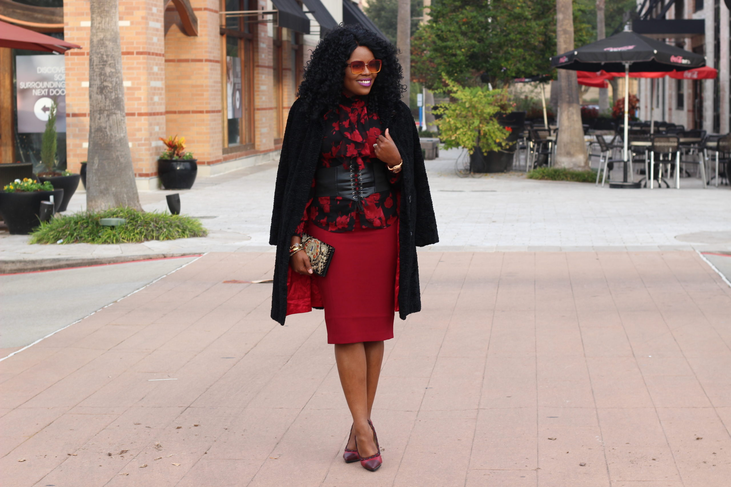 The Gift of Style - 1 Outfit, 2 Looks for your Holiday Party Floral Ruffle Top Red SuitableYou Pencil Skirt Red Shoedazzle Pumps Gold Heels Vintage Embroidered Clutch Purse Shop LC Shopping Links Burgundy Arch Crossbody Handbag Beehive Houston Boutique Sunglasses SheIn Corset Lace-up Belt Christmas Style Holiday Party Lookbok Fall Fashion