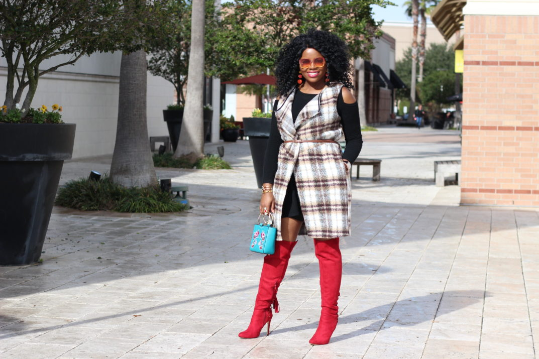 InStyle Inspiration - Plaid Vest and Red Boots + GIVEAWAY Anything Bling Boutique Flannel Vest Red Over the knee boots Shoedazzle shoes Henri Bendel Marquis Embroidered Tote Handbag Little Patrizia Luca Milano Black Dress Cold Shoulder Dress Daniel Wellington BendelGirl
