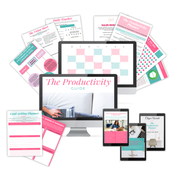 Chigi's World The Productivity Bundle - The Guide, Tools, Resources, Workbook, Planner & Journal Templates Success Tools Tips Systems Strategies